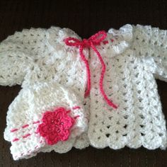 Baby sweater and hat set.