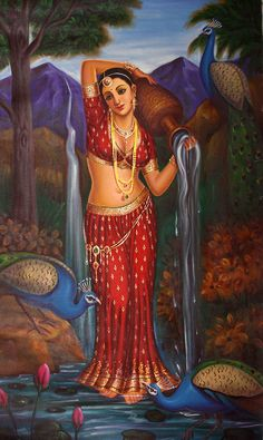 Lost in the Thoughts, Oils Oil Painting on Canvas Sexy Painting, India Painting, Painting Of Girl, Mysore Painting, Indian Women Painting, Indian Art Paintings, Indian Artwork, Canvas Paintings, Bollywood Stars