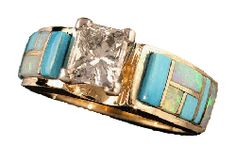 Turquoise and diamonds.  Can some one please tell my sweetie this is type of engagement ring and wedding band I want!