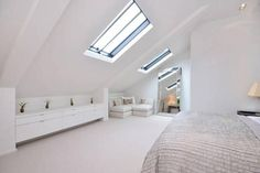 Under eaves storage and I like the cosy corner sofa – Loft İdeas 2020 Attic Loft, Loft Room, Bedroom Loft, Eaves Bedroom, Attic Library, Attic House, Attic Ladder, Attic Office, Master Bedroom