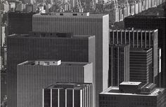 sixth avenue skyscrapers from empire state building july 1981