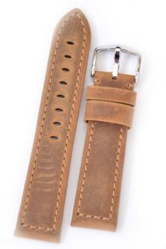 Hirsch Terra L, Artisan leather watch strap in Gold Brown, 20 mm, Steel Buckle by HIRSCH