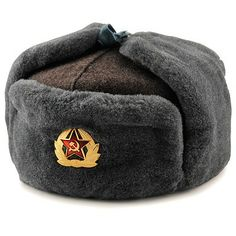 49707e115be6a Russian Hat with Ear Flaps (Ushanka) (Gray) - This is the authentic Soviet  Army natural sheepskin ushanka and it comes complete with the military  badge.