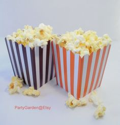 24 Thanksgiving Fall Autumn Mini Popcorn Box Set - Orange Stripe and Brown Stripe