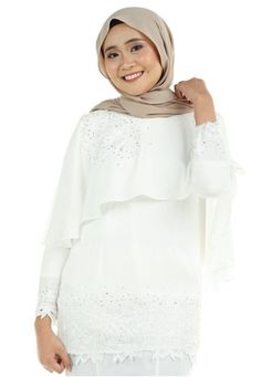 Azura Cape Kurung with patched lace from Ashura in White Azura Cape Kurung with patched lace from Ashura in White Top - Round neckline with center back hook fastening - Embellishment cape top - Full lining -... Flare Skirt, White Tops, Cape, High Neck Dress, Neckline, Skirts, Sleeves, Dresses, Fashion