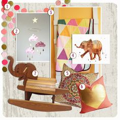 Apt. 935 Vintage Rocking Elephant Nursery Inspiration Board. Pinks, purples, and gold.