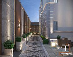 Landscape Villa design in KSA 1 on Behance Modern Backyard Design, Modern Villa Design, Modern Landscape Design, Backyard Patio Designs, Terrace Design, Modern Landscaping, Fence Wall Design, House Architecture Styles, Exterior Design