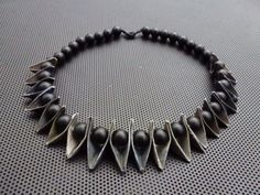 Folded paper and matte,black beads,Made by UNNI HOFF