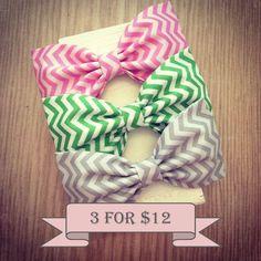 Chevron preppy zigzag fabric hair bows pink lime green grey gray. $12.00, via Etsy.