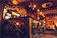 Steampunk aficionados and those looking to try something different can now enjoy a tipple at what's billed as the world's first kinetic steampunk bar. The Enigma Cafe is an impressively intricate work of interior design chock full of moving clocks, cogs, and whirring machinery.