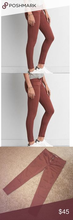 """AEO Twill x Jeggings SHORT LENGTH    🎉HOST PICK🎉 Jeggings size 10 SHORT (26"""" inseam) in twill x material designed to stretch and retain shape. Color is """"berry jam"""" a rusty red/brown. Perfect for fall but wearable year round. Worn/washed once. Like new perfect condition.   #'s host pick ae aeostyle retro equestrian hipster trendsetter autumn fall brick burgundy cinnamon sienna chestnut henna terracotta umber American Eagle Outfitters Jeans Skinny"""
