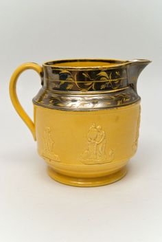 Canaryware Pitcher with Patriotic Americana Eagle and Classical Relief Figures
