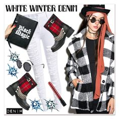 """On Trend: Winter White Denim"" by paculi ❤ liked on Polyvore featuring MINKPINK, Dsquared2, Disturbia, tartan and winterwhite"