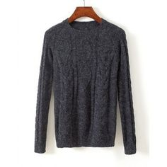 Stylish Cable Knit Jewel Neck Solid Color Long Sleeve Sweater For Women