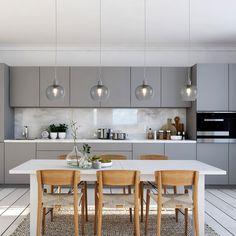 Suspension Lotus I Kitchen Room Design, Modern Kitchen Design, Home Decor Kitchen, Kitchen Interior, New Kitchen, Home Interior Design, Kitchen Dining, Kitchen Ideas, Kitchen Without Island