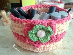 Tecendo+Artes+em+Crochet:+Cestinha+de+Trapilho