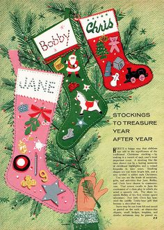 Vintage felt stockings - make some for next year like those at Hot House Market. Felt applique with sequin accents!