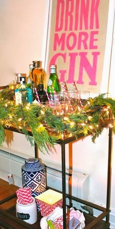 Christmas bar cart.