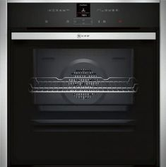 Introducing the Neff built-in pyrolytic single electric oven stainless steel. This electric oven by Neff offers an ample capacity, telescopic rail support, and a quadruple glazed door reducing the amount of heat loss. Single Electric Oven, Single Oven, Four Pyrolyse, Stainless Steel Oven, Built In Ovens, Oven Range, Wall Oven, Kitchen Appliances, Sliders
