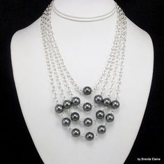 Pyramid of Pearls Necklace in Dark Gray by byBrendaElaine on Etsy, $34.00
