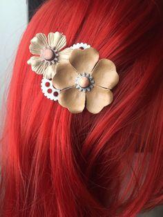 Steampunk Hair Accessories Mechanical Flower by ArcanumByAerrowae