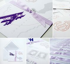 Travel themed wedding invitation in Purple colour.. by Design for Eternity #weddinginvitation #vintage