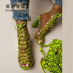 Apr 2020 - Clear PVC Women Pumps Sandals, Chunky Heels Lace Up Pumps Mujer, Ladies Snake Print Summer Boots Party, Women Pumps Green Zapatos Neon Pumps, Neon Sandals, Women's Pumps, Chunky Heel Ankle Boots, Ankle Strap Heels, Chunky Heels, Sandal Heels, Women's Shoes, Red High Heel Shoes
