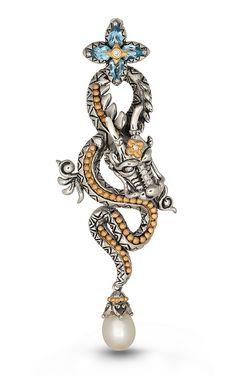 Karma Works Dragon Pendant – Diamond, Blue Topaz & White Fresh Water P – Barbara Bixby