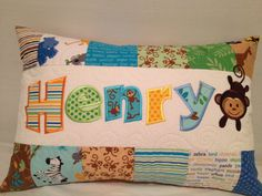 Children's personalized name quilted pillow cover by LulasLuvables, $38.00