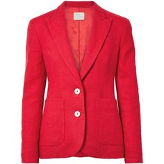 Hillier Bartley Linen blazer ($1,135) ❤ liked on Polyvore featuring outerwear, jackets, blazers, crimson, linen blazer, red blazer, red blazer jacket, red jacket and red linen blazer