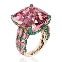 De Grisogono ring in pink gold with tourmalines and emeralds