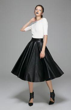 falda midi negro, una falda, falda de PU, Falda acampanada, maxi falda, falda larga, falda de invierno, ropa de otoño, ropa Mod, mujeres faldas 1388