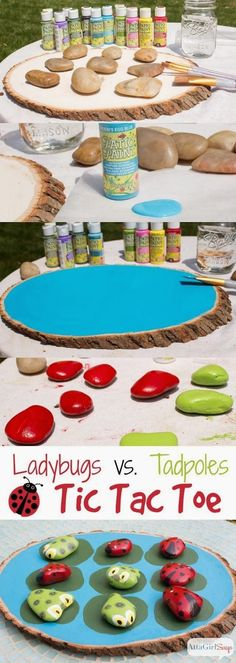 Camping Games - Craft Project Ideas: Ladybugs Vs. Tadpoles Outdoor Tic Tac Toe Game
