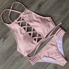 How nice Lace Up Sexy Bikini Set Swimsuit Beach Bathing Suits For Women ! I like it ! I want to get it ASAP!  #tassel #bikini #hot #swimsuit #swimwear
