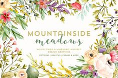 Mountainside Meadows Wildflowers by Denise Anne on @creativemarket