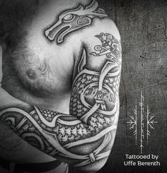 Sleeve of Oseberg Hounds.   Inspired by the carvings on the keel of the Oseberg ship from Norway. (Text and smaller beast not my work). Thank you to my friend from down under.  Tattooed by Uffe Berenth  Resident Tattoo Artist at Kunsten På Kroppen, Copenhagen   http://uffeberenth.com/ Kunsten på Kroppen  Rådhusstræde 15  1466 København K  Denmark