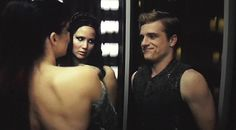 "Their faces though! Peeta's like, ""Wow...ok, keep cool & be a gentleman...but wow!"" and Katniss is like ""Really, Peeta?"""