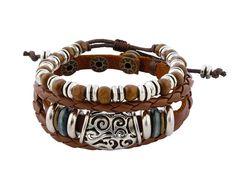 Speciaal voor 5 december! Leuke schoenkadootjes. Unieke sieraden vanaf € 7,50. - Bruin gevlochten leren armband uit Tibet met houten kralen