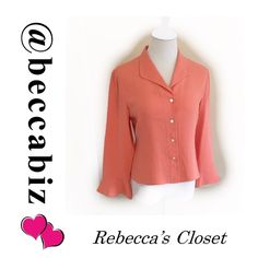 Talbots peach color Beautiful dressy blouse Sz 6 Pure silk size 6 dressy blouse with flouncy sleeves Talbots Tops Blouses