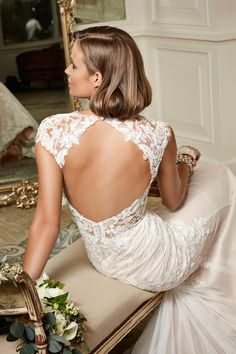 Robe de mariée dos nu en dentelle - Robe: Wtoo Brides by Watters #dosnu #bridaldress #backless