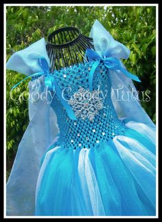 SNOWFLAKE QUEEN Frozen Elsa Inspired Tutu Dress with Snowflake Cape - Large 4-6T on Etsy, $125.00