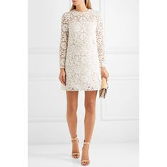 Valentino Crepe-trimmed embellished corded lace mini dress (12 450 PLN) ❤ liked on Polyvore featuring dresses, white dress, short cocktail dresses, short white dresses, white lace cocktail dress and short lace dress