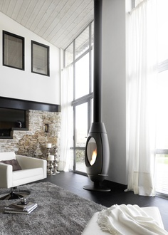 Example of pellet stove in two story space.