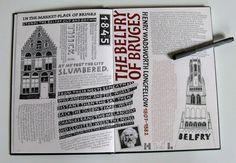 #sketchbook#jokeboudens#bruges#belfry#house#poem#lettering#calligraphy#illustration#gouache#marker