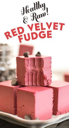 """Healthy Raw Red Velvet Fudge -- creamy, sweet, with a hint of chocolate and a secret ingredient. One bite and you'll ask, """"HOW is this sugar free, low carb, gluten free, dairy free AND vegan?!"""" It doesn't taste healthy at all."""