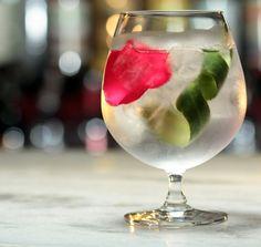 Gin Tônica Rose Cucumber - Bar Astor Com Gin Hendricks, pepino e rosa