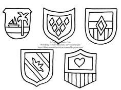 Dibujos para imprimir y colorear gratis para niños: Dibujo de escudos para imprimir y colorear!