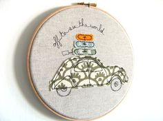 I love VWBugs and I love the thought of traveling...this has it all!    ThreeRedApples on Etsy