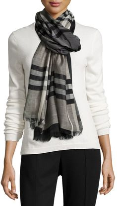Burberry Ombre Giant Check Scarf, Charcoal