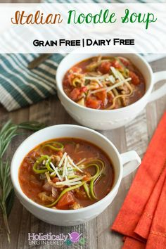 Italian Noodle Soup (Paleo and Gluten Free) - Holistically Engineered Lunch Recipes, Soup Recipes, Diet Recipes, Cooking Recipes, Healthy Recipes, Primal Recipes, Real Food Recipes, Yummy Food, Sans Gluten
